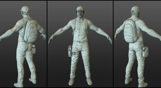 Wireframe Game Character